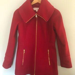 Trina Turk - Scarlett Red Funnel-neck Wool Coat